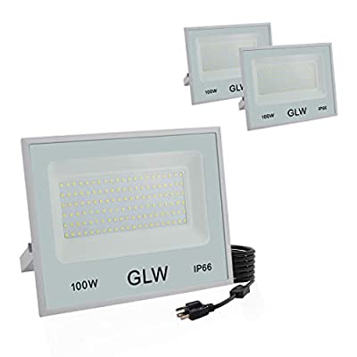 GLW 100W LED Flood Light Outdoor IP66 Waterproof Super Bright Security Lights,6000k 10000LM Work Light Daylight White Outdoor Spotlight for Yard,Garage,Garden,Playground and More [3 Pack]