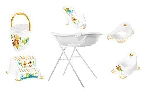 8 Pièces Set Z Disney Winnie Pooh Blanc Baignoire XXL 100 cm + Support Baignoire Bébé + Siège + Pot + Wc Essai + Tabouret Deux Niveaux + Sceau à Couches + Gant