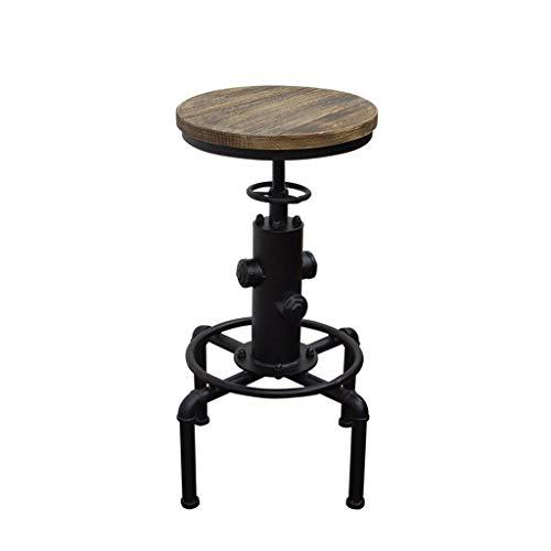 jixi Bürostuhl Loft Cafe Retro Tisch Home Schmiedeeisen Barhocker Hoher Hocker Rezeption Bar Verstellbarer Stuhl Freizeit Tisch Sessellift Computer Stuhl (Color : Black)