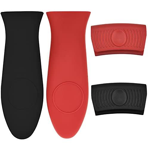 4Pcs Soporte de Silicona,Soporte de Asa de Silicona, Mango Caliente de Silicona para Olla, Plancha, Sartén, (Negro y Rojo)