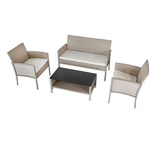 Aktive 61013 Conjunto muebles de jardín en ratán, Multicolor