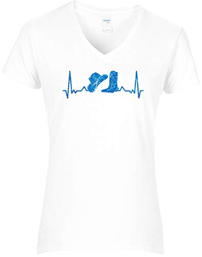 BlingelingShirts Glitzer Shirt Damen Heartbeat Cowboystiefel mit Cowboyhut geteilt Herzschlag Design Line Dance Country, Weiss, Gr. L