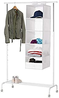 Hanging Storage With 6 Compartments, White Color, 35x45x125cm, 100% Polyester - 002ik45880