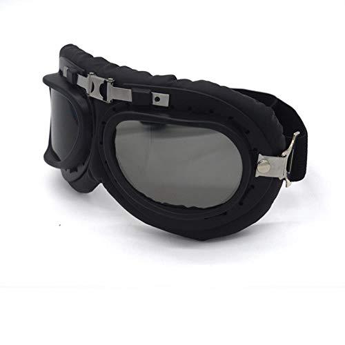 fish Mooreaxe Motorradbrille BrilleSteampunk Vintage Pilot Jet Helm Brille Biker ATV Radfahren Ski Sonnenbrille, Smoke Lens