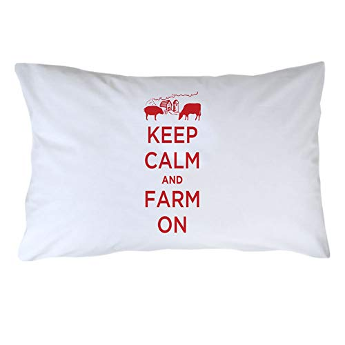 Kysd43Mill Fundas de almohada de algodón blanco con texto en inglés 'Keep Calm and Farm On', 20 x 30 pulgadas, fundas de almohada suaves para regalos de Navidad y cumpleaños (color = rojo)