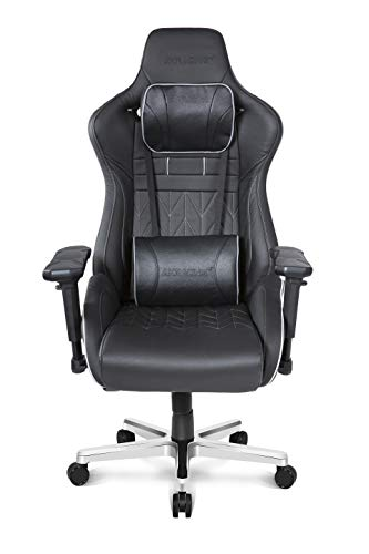 AKRacing Masters Series Pro Deluxe XL Gaming Chair Genuine Brazilian Leather, High Backrest, Recliner, Swivel, Tilt, 4D Armrests, Rocker & Seat Height Adjustment Mechanisms, 5/10 Warranty