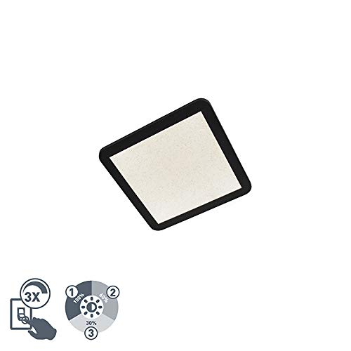 QAZQA Modern Plafondlamp IP44 3-staps dimbaar incl. LED 27,6 cm - Steve Kunststof Vierkant LED inbegrepen Max. 1 x 18 Watt