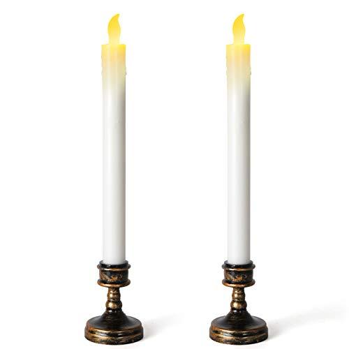 LED Kerzen | LED-Stabkerzen | Flammenlose Flackernde Kerzen | Große Kerzen mit Kerzenhalter | Warm-weiß | 2 Stück