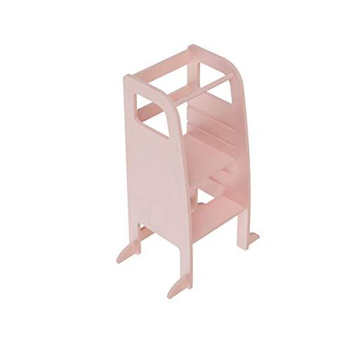 AtviKids Torre di Apprendimento Montessori Con 5 Altezze Regolabili | Learning Tower | Torre Attività | Sgabello da Cucina (Rosa)