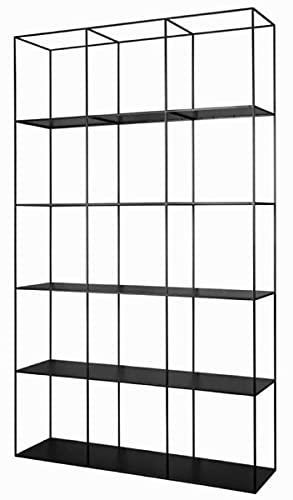 Casa Padrino Armario de estantería de Metal de Lujo Negro 120 x 40 x A. 200 cm - Armario de Salón - Armario de Oficina - Muebles de Lujo