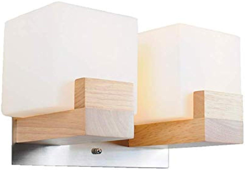 Nachttischlampe Wandleuchte Einfach E27 Metall Holz Wandlampe Kreativ Wei Quadrat Design Innen Deko Wand Beleuchtung Wohnzimmer Schlafzimmer Küche Esszimmer Gang Treppen Balkon Foyer H18CM,2Lights