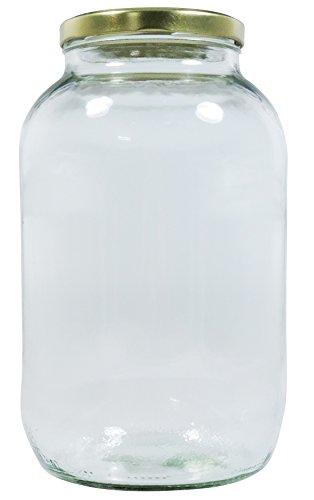 Mikken XL Einmachglas 3400ml mit Schraubverschluss Gold, Vorratsglas Glasdose inkl. Beschriftungsetikett