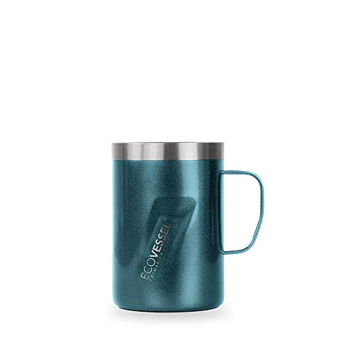 EcoVessel Transit Travel Coffee Mug with Slider Lid & Ergonomic Handle, Trimax Insulated Stainless Steel Beer Stein (12oz Blue) Travel Whiskey Glass, Country Travel Mug or a Moscow Mule Tumbler Cup