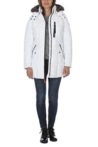 Nautica Women's Heavy Weight Quilted Jacket with Faux Fur Trim, Bright White, X-Large