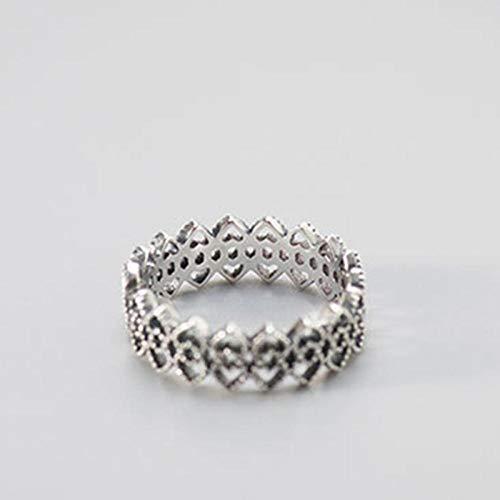 HDDWZH Woman Ring,Sterling Silber 925 Hohl Herzform Ringe Für Frauen Schwarz Zirkonia Finger Verlobungsring Thai Silber Trendiger Schmuck