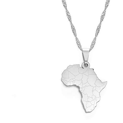 Revilium Tamaño Pequeño Africa Mapa Colgante Cadena Collares Plata Color Africano Mapas Joyería Nacional para Las Mujeres Niñas 60Cm