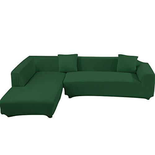 ele ELEOPTION Sofa Überwürfe elastische Stretch Sofa Bezug 2er Set 3 Sitzer für L Form Sofa inkl. 2 Stücke Kissenbezug (Grün)
