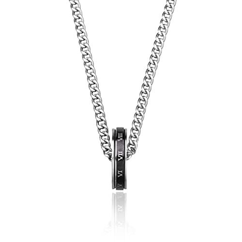 SeniorMar-UK Wilder Kettenring Anhänger Herren Persönlichkeit Trendy Hip-Hop Anhänger Paar Weibliche Halskette Mit Schmuck Silber 62cm
