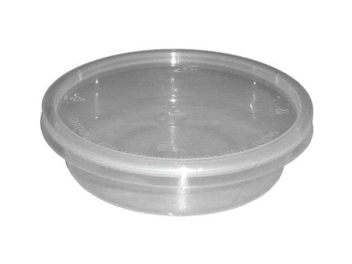 Lot de 100 récipients ronds en plastique transparent pour micro-ondes ou four 236,8 g