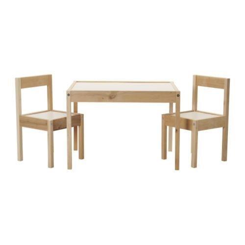 Ikea LÄTT - Mesa infantil con 2 sillas, color blanco y pino