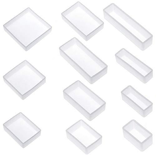 Yalulu Lot de 11 Moule de Résine de Silicone Flexible Rectangle Carré pour DIY Artisanat Fabrication