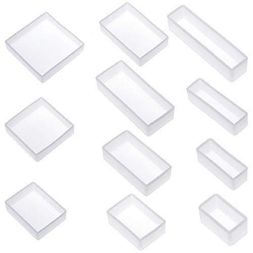 Yalulu 11 Stück Quadrat Rechteck Schmuck Mold Silikon Gießformen Silikon Form Casting Formen Harzform DIY Basteln Gießform