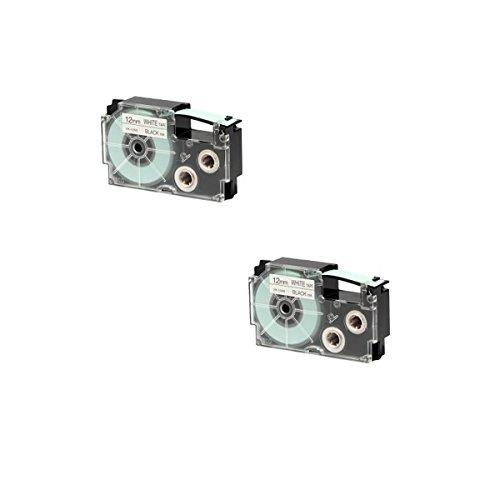 Prestige Cartridge Nastro per Etichette, Sostituisce XR-12WE/XR-12WE1, 12mm x 8m, 2 Pezzi, Nero su Bianco
