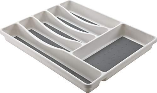 M-Home | Range Couverts pour Tiroir de Cuisine / 6 Compartiments | Plastique | Blanc | 40,5 x 34,5 x 4,5 cm | SPACE SYSTEM I | PLS262