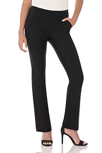 Rekucci Women's Ease into Comfort Classic Bootcut Pant w/Tummy Control (16,Black)
