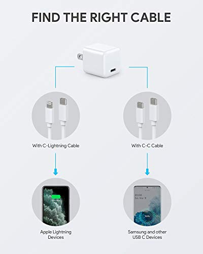 USB C Charger, WEMISS 2-Pack Mini 20W iPhone 12 Fast Type C Wall Charger with PD 3.0, Durable Compact USB-C Power Adapter for iPhone 12/12 Pro Max, MagSafe Duo, 11 Pro Max, Galaxy S10 (2White)