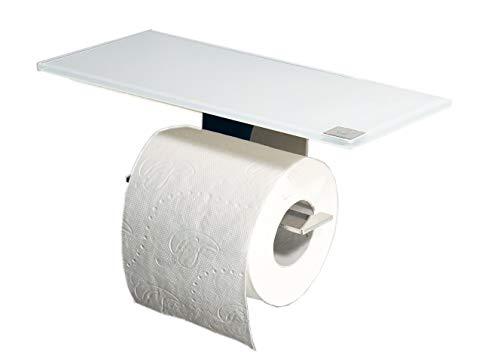 WC Rollenhalter/Toilettenpapierhalter mit weißer Abstellfläche/Ablage aus Glas/L - Made in Germany -