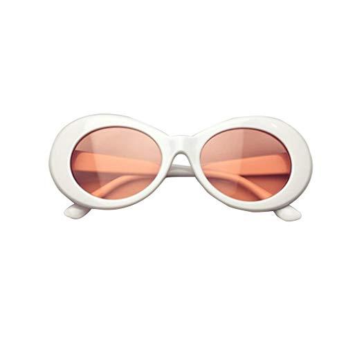 Nrew Gafas de Sol con Montura Gruesa ovaladas Retro atrevidas con Lentes Redondas de 51 mm Blanco-Rojo
