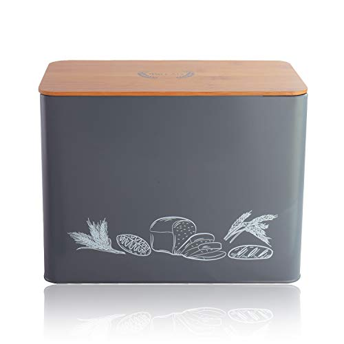 """Living-Home Bread Box Extra Large Metal Bread Bin with Bamboo Lid Kitchen Counter Organizer Storage Bins for Fresh Loaves Holds 2 Loaves Crackers Bread Container Bread Holder 14""""x 9""""x 5.7""""Grey"""