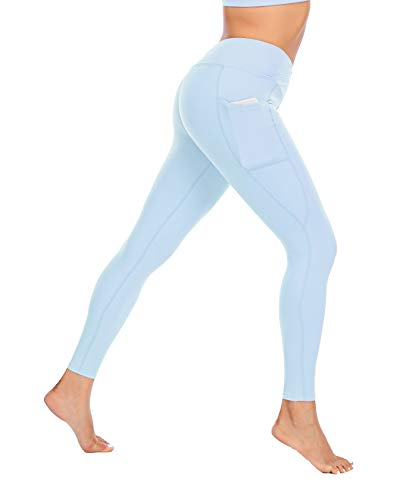 Miss Adola Workout Leggings for Women with Pocket-High Waisted Yoga Pants-Tummy Control Non-See Through Yoga Leggings(Lightblue S)