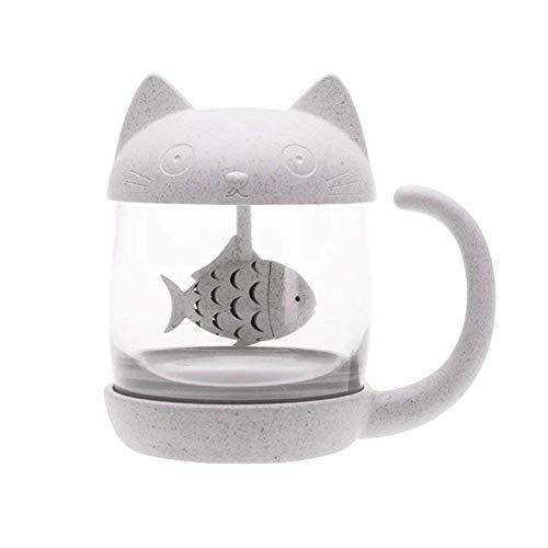 Hieefi Taza de Té Con Infusor Vaso de Café del Gato de La Copa Con Pescado del Tamiz de Filtro Regalo Para Las Chicas Wowen NiñOs