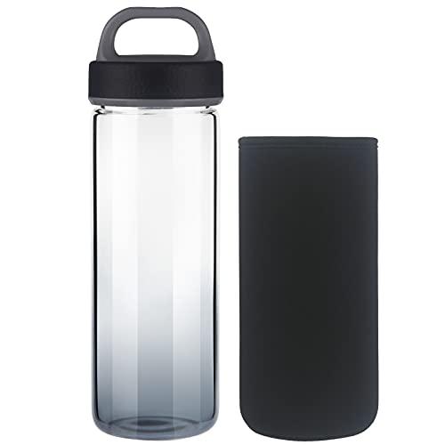 Life4u Botella de Agua de Cristal de Borosilicato Botella de Agua de Vidrio Sin BPA 750 ml (Negro)