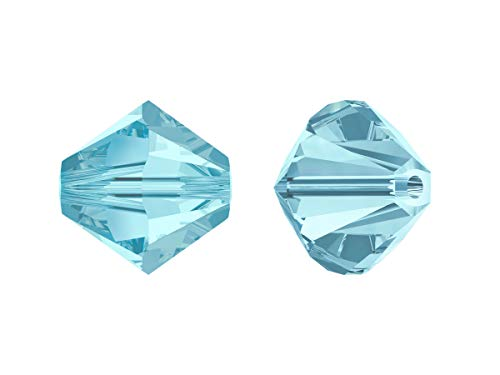 Xilion Swarovski Beads, Bicone 5328, 4mm, 18 Piezas, Cuentas de Vidrio facetadas en la Forma de Cono Doble (Linterna), Aquamarine (Transparent Light Blue Iridescent)