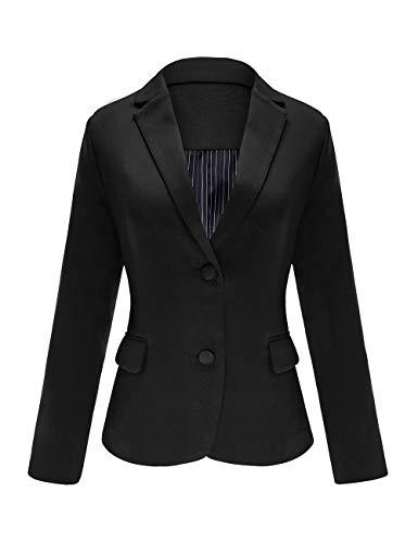 Roskiky Damen Eingekerbter Blazer mit Revers Taschen und Knöpfe Schwarz XX-Large