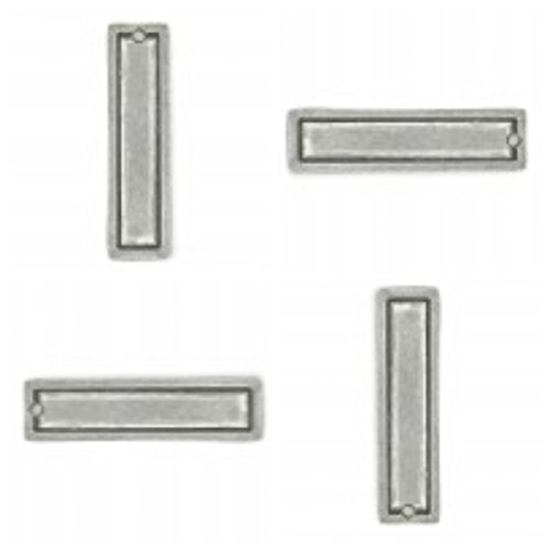 Four (4) ImpressArt Pewter Large Rectangle Border Stamping Blanks, Soft Strike Pewter, 1/2 x 1 3/4 inch 16 guage. Made in USA