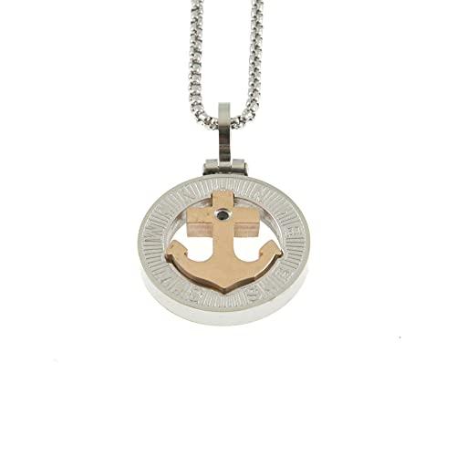 Collar Siendo Redonda de Acero de Dos Tonos de Oro de la Cadena de hasta 50 cm de Largo, 30 mm de Ancho, 20 mm - cln0161