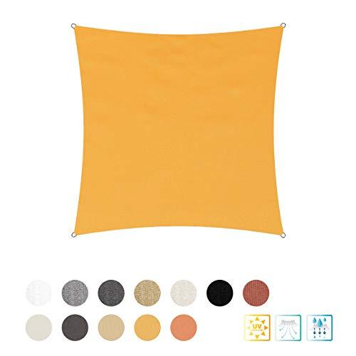 Lumaland Toldo Cuadrado con Cuerdas de sujeción | Poliéster con Doble Revestimiento de PU | Cuadrado de 3 x 3 Metros | 160 g/m² - Color Amarillo