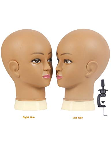 Kalyx Bald Mannequin Head for Wigs Making Styling,wig mannequin head for practicing sew in wigs and clamp stand (brown)