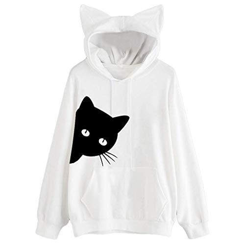 LJXLXY Damen Cat Print Langarm Hoodie Sweatshirt Hooded Pullover Tops Bluse