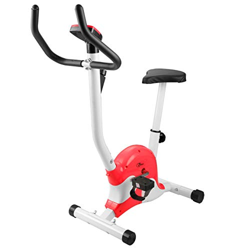 Hometrainer Folding Aerobic Fitness Machine, Indoor Trimfiets Met LCD-Scherm Foot Trimfiets Afvallen Fitness Equipment Verstelbare Stoel,Red