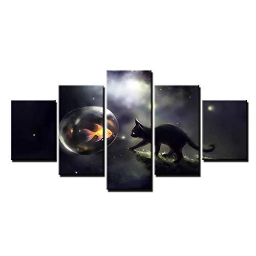 nr Canvas HD Prints Poster Wandkunst Moderne vis Afbeeldingen Zwarte kat bellen Goudvis Schilderij Wooncultuur 40x60 40x80 40x100 cm Geen lijst