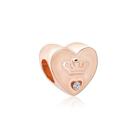 LILANG Pulsera de joyería Pandora 925, Brazalete de Cristal de Amor de Oro Rosa Natural, Brazalete Original de Moda para Hacer Corona,Amuleto para Mujer, Regalos DIY