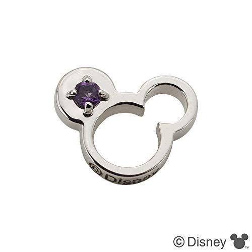 [ディズニー]Disney ミッキー ベビーリング 誕生石 K18ホワイトゴールド 2月アメシスト(202)
