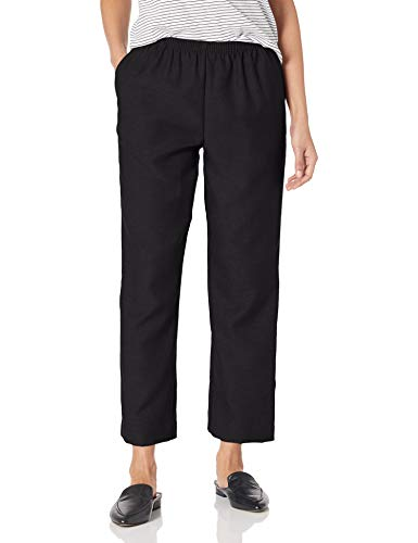 Alfred Dunner Women's Around Elastic Waist Polyester Short Pull-On Style Pants, Black, 12 Petite