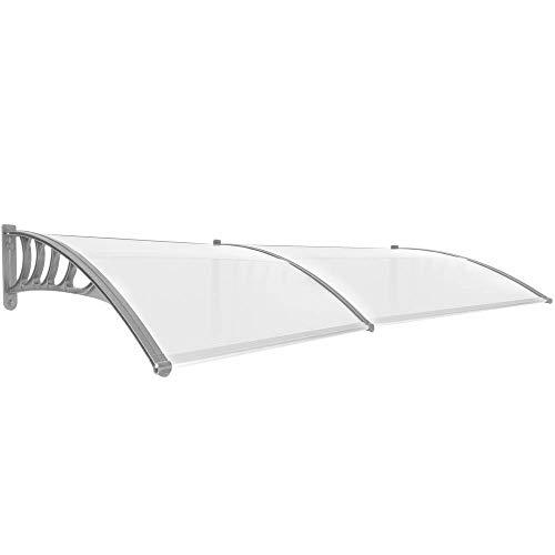 PrimeMatik - Tejadillo de protección 240x90cm Marquesina para Puertas y Ventanas Gris