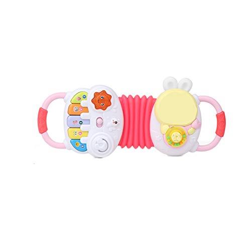 Elektrische frühe Bildung Puzzle Musik Akkordeon, Ton und Licht Musikinstrument Babyspielzeug Baby Geige Mädchen Simulation,Rosa